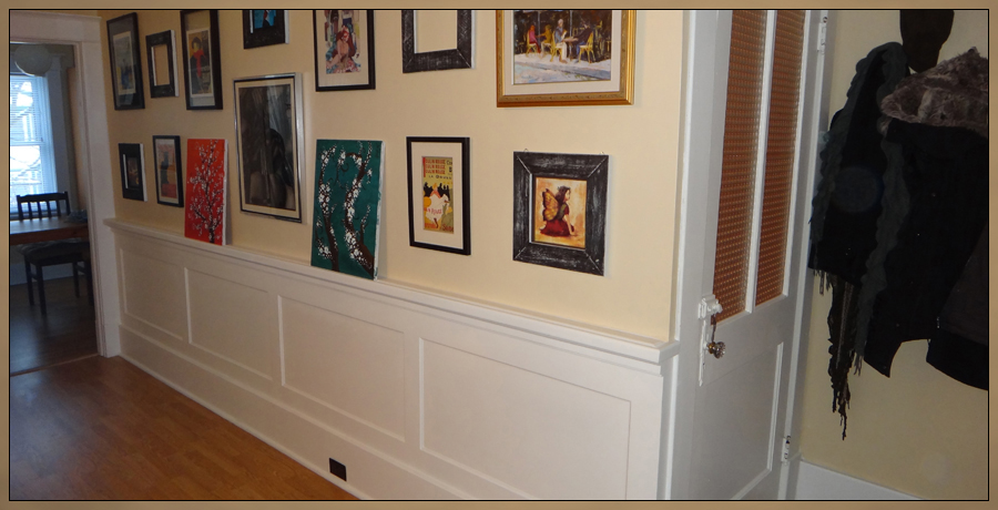 Waincoting with custom milled chair rail