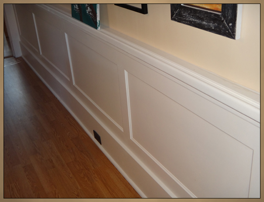 Recessed panel wainscoting after installation