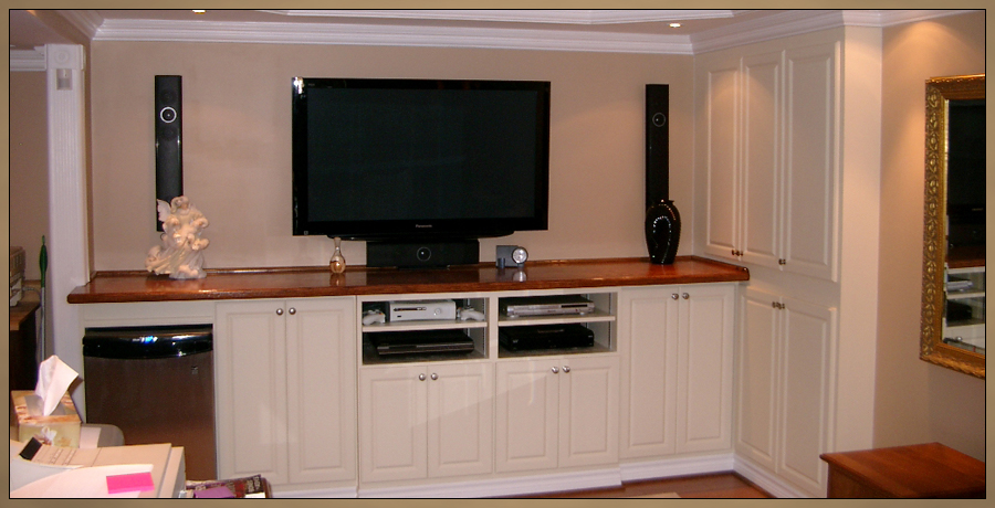 Custom Cabinetry - Basement Bar and Home Theater Entertainment Center