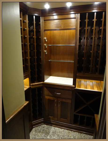 Custom Wine Room - Built-In Cabinets with Wine Racks