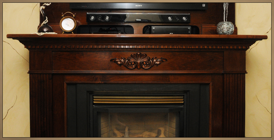 Custom Fireplace Mantels - Close up of Solid Maple Mantel Surround