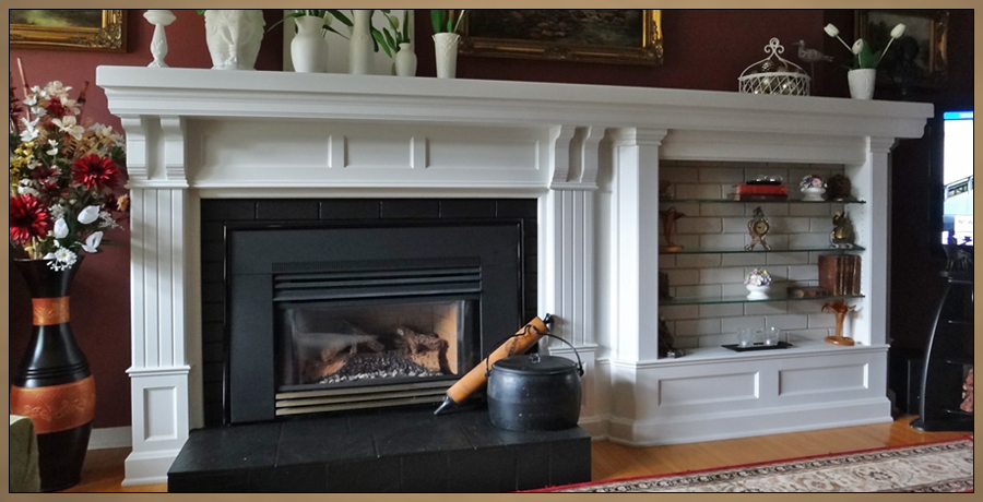 Fireplace Mantel Designs   Sketch Of Custom Mantel With Built In Curio  Cabinets On Both