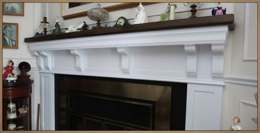 Colonial Style Hand Crafted Wood Fireplace Mantel